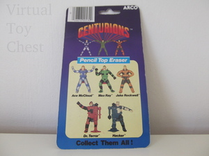 Centurions pencil top eraser back of card by arco