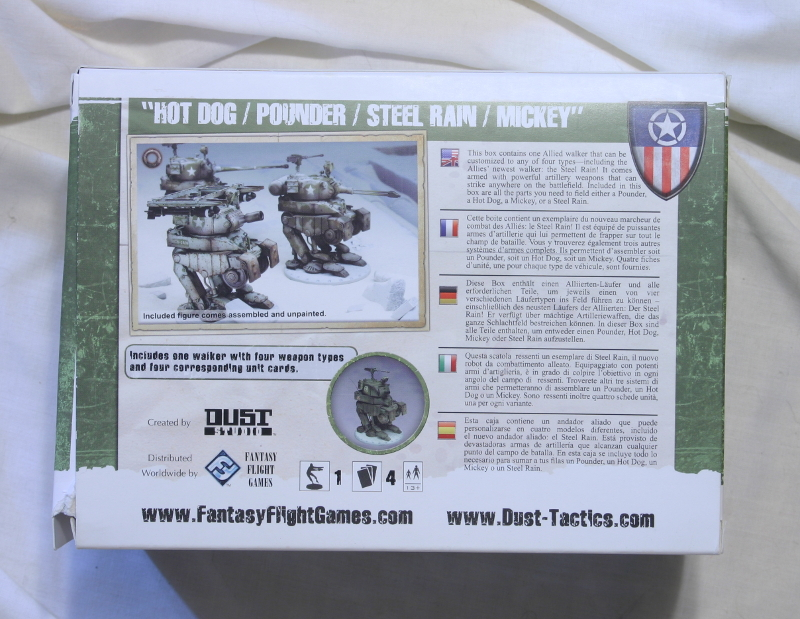DUST Hot Dog / Pounder / Steel Rain / Mickey by Fantasy Flight Games back of box