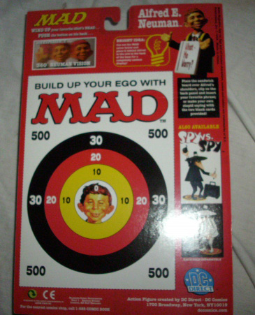 1998 MAD Alfred E. Neuman action figure Back of Card