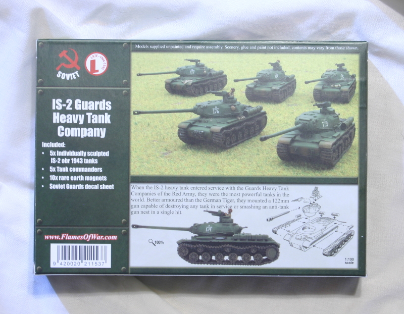 Flames of War Russian IS-2 Guards Heavy Tank Company back of box