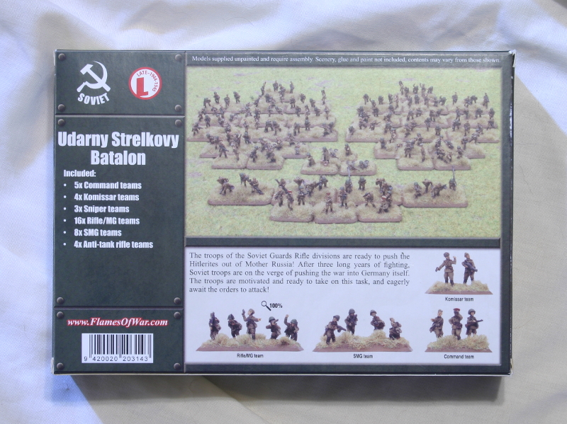 Flames of War Udarny Strelkovy back of box