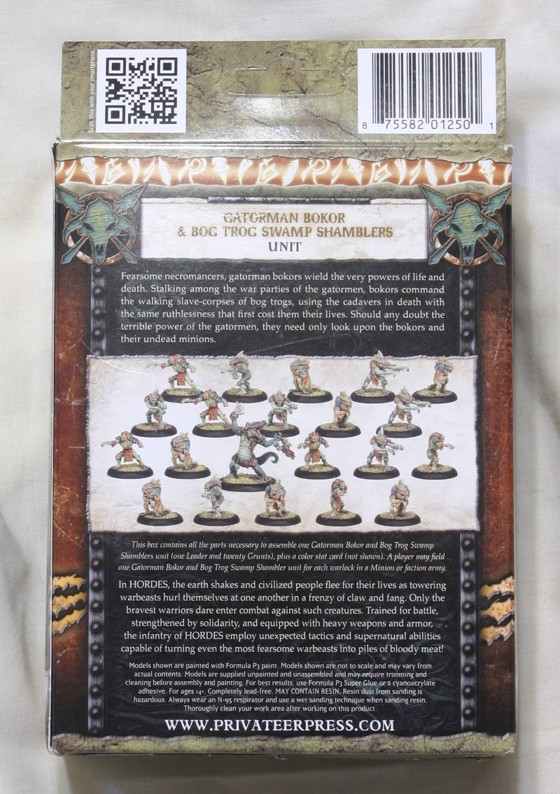Hordes Minions Gatorman Bokor and Bog Trog Swamp Shamblers back of box
