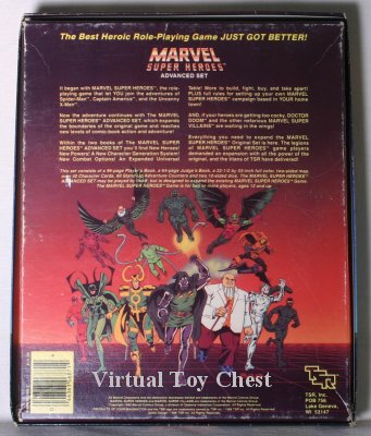 Marvel Superheroes RPG tsr boxed set back of box
