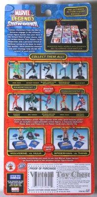 Marvel Showdown toy biz Black Costume Spider-man back of card