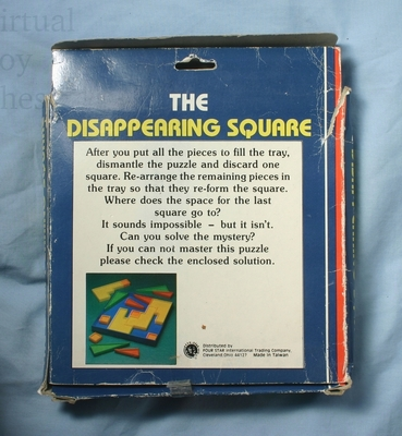The Disappearing Square puzzle back of box