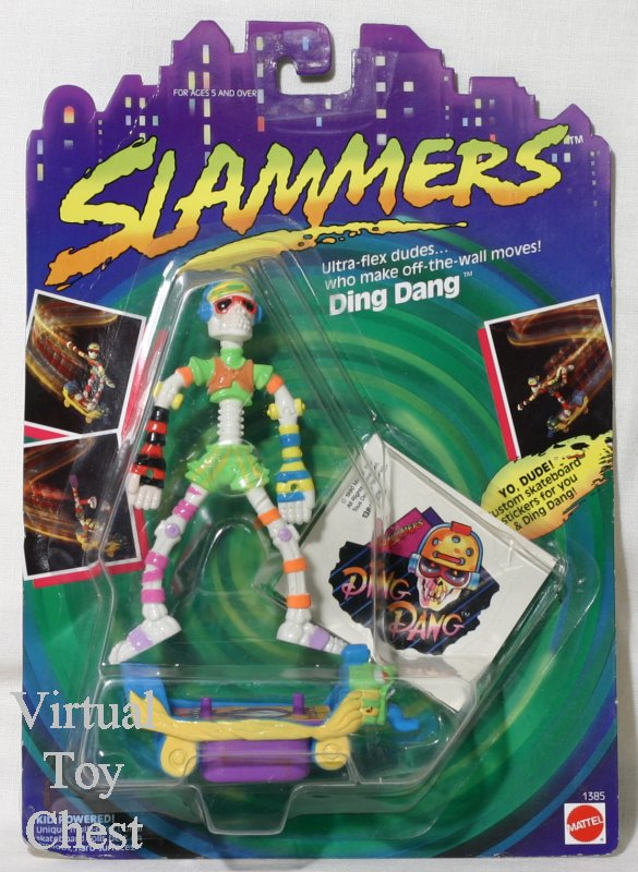 mattel slammers bendable skate board action figures