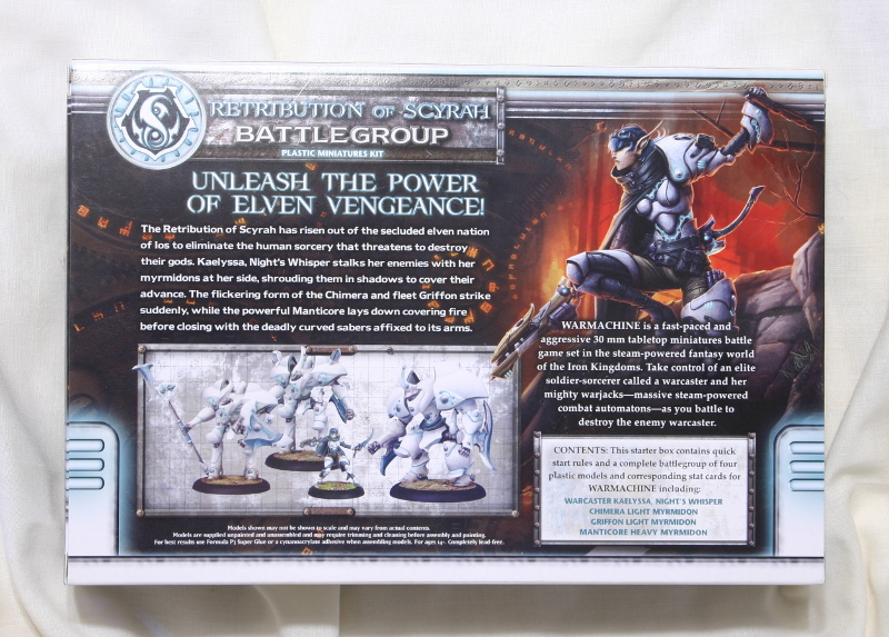 Warmachine Retribution of Scyrah Battlegroup back of box